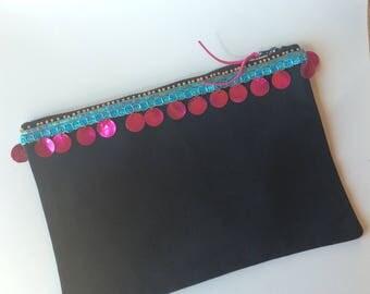 Black makeup and Bollywood - chic bohemian bag Embroidery Kit