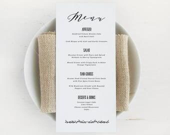 Printable Wedding Menu Template, Printable Menu, Script Wedding Menu, Calligraphy Menu | Edit in Word or Pages