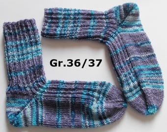 socks hand-knitted, Gr. 36/37 (EU),  purple - blue
