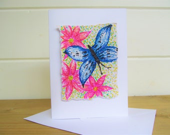 Butterfly card ~ handmade greetings card ~ Blue butterfly card ~ blank cards ~ uplifting card