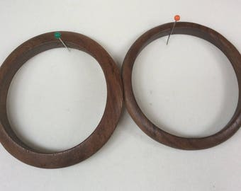 Two wooden bangles from the 1970s, one a domed shape and the other a triangular shape, belly dancing, tribal fusion, tribal, from the 1970s