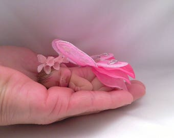 """Polymer Clay Babies """" Petals and Flowers Baby"""" BABY SIZE 2.5"""" Gift, Collectible, Fairy Garden, Cake Topper, Display Home Decor, Keepsake"""