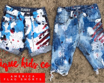 American Splatter distressed deconstructed paint destroyed ripped usa american pride 4th of july studded shorts