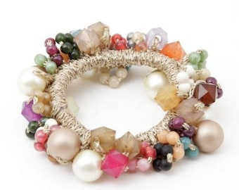 Acrylic Cubic Pearl Balls Beaded Crochet Knit Wrapped Elastic Ponytail Holder