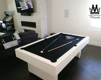 Modern Pooltable Billiards Game With Black Felt All White Finish! Pool Table  Great For Mancaves