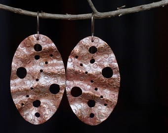 Large earrings, Copper earrings, Copper jewelry, Copper jewellery, Metalwork earrings, Handmade Boho earrings Bohemian, Stamped earrings