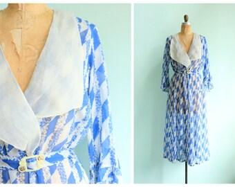 RESERVED || Vintage 1930s Blue Floral Striped Cotton Voile Lawn Dress | Size Medium/Large