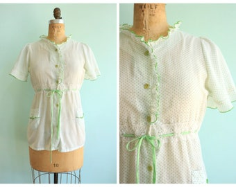 Vintage 1970's Green and White Polka Dot Blouse | Size Small