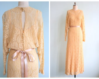 Vintage 1930s Yellow Lace Gown and Slip | Size Small/Medium