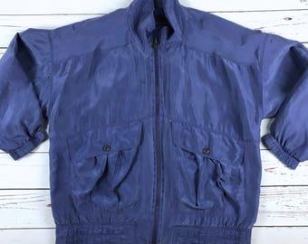 VTG 80s 90s MURELI 100% Silk Retro Bomber Jacket Size: Medium Women's