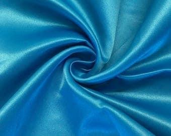 "Turquoise Matte Satin (Peau de Soie) Duchess Fabric Bridesmaid Dress 60"" Wide Sold BTY"