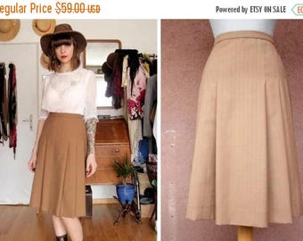 SUMMER SALE 1940's / 1950's Camel Wool A-Line Skirt - 40's Midi Wool Pleated Skirt - Size M
