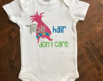 Troll hair, dont care baby bodysuit.