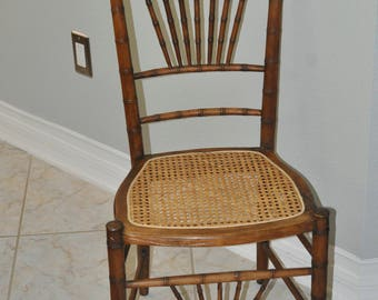 Small Old Wicker Bottom Chair
