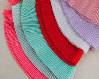 "6.5cm 2.55"" wide  10 meter white/black/red/light purple/pink/mint/carmine red pleated chiffon  lace trim ribbon fabric M37J115 free ship"