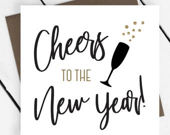 Christmas Cards - Pack of 10 - Cheers To The New Year Faux Gold Cards