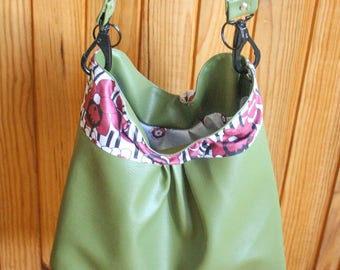 Reversible faux leather and fabric shopping bag