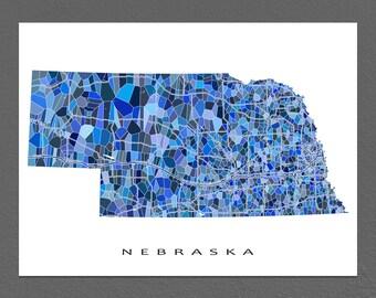 Nebraska Map Print, Nebraska State Art, NE Wall Artwork
