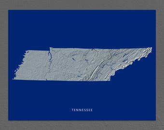 Tennessee Map, Tennessee Wall Art, TN State Art Print, Landscape, Navy Blue