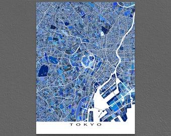 Tokyo Map, Tokyo Japan City Maps, Tokyo Art Print, Blue