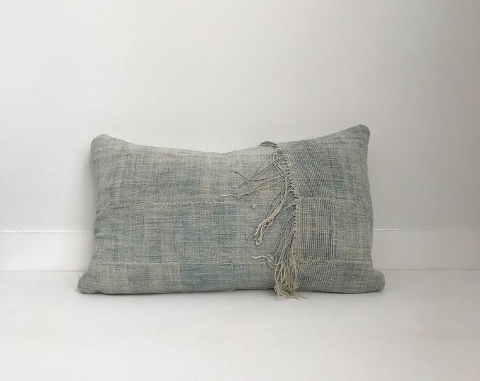 Indigo Boho Pillow, Cover, Ethnic, Vintage, Blue, Fringe, Lumbar
