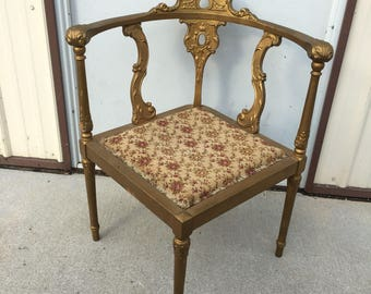 Antique Early American Gold Corner Seat Chair With Floral Upholstered Seat
