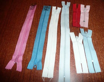 Assorted Length Zippers 3,4, 7, 9, 12, 21 Inch Assorted Colors
