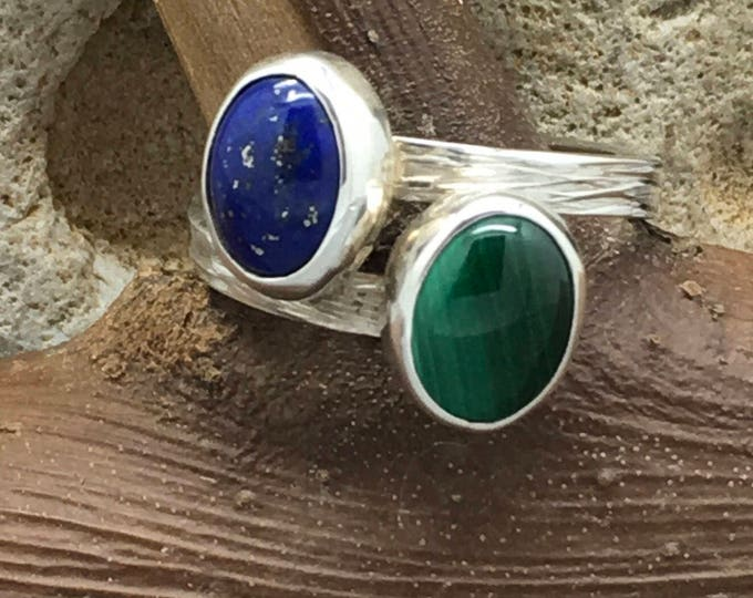 Handcrafted Sterling Silver Bark Effect Ring with Malachite and Lapis Lazuli.