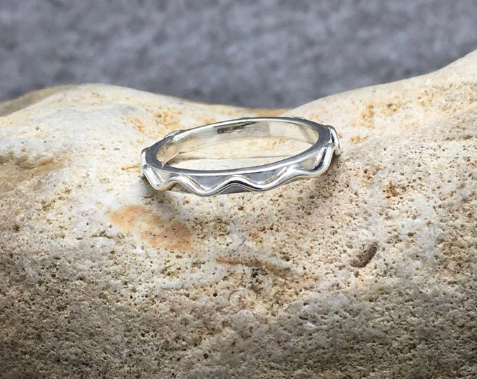 Handcrafted Sterling Silver Wavy Band Ring.