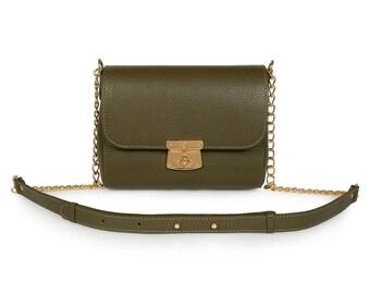 Leather Crossbody Bag, Olive Leather Shoulder Bag, Women's Leather Cross body Bag, Leather bag KF-344