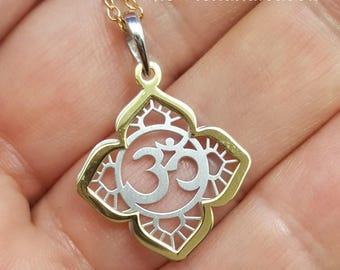 OM Necklace - Aum pendant - yoga jewelry - dainty sterling silver OM charm - filigree necklace - zen Buddhism - mantra - Hindu - vedas