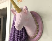 Purple unicorn princess faux taxidermy unicorn head with gold detail