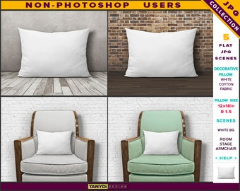 12x18 Decorative Pillow | Styled JPG Scenes | White Cushion on Wooden Floor & Armchair | Non-Photoshop | Room stage | 30x46cm