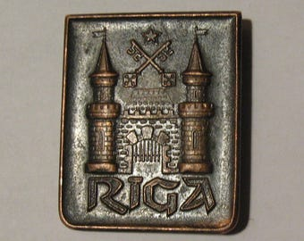 Vintage Soviet RIGA Badge. The fastener is broken.