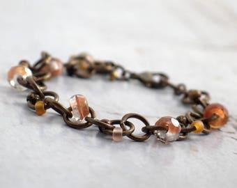 Chunky brass chain bracelet, Salmon Czech glass jewelry, Gift for boho bridesmaids, Rustic style