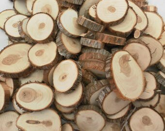 100 Wood Slices ~ 1.25 to 2 inch ~ Tree Slice Assortment ~ Mosaic ~ Wood Slice ~ Wood Chips ~ Wood Craft Pieces