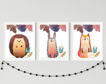 Nursery printable set of 3 wall art baby room decor fox bunny rabbit hedgehog in the forest child room art download, woodland playroom decor