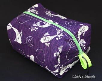 Japanese Koi toiletry bag - Handmade - Moisture resistant travel bag - Nappy bag.