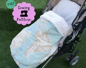 Universal footmuff PDF Sewing Pattern and a Stroller Bag pattern included FREE , Sewing Pattern of Instant DOWNLOAD