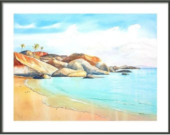 The Baths Beach, BVI Virgin Gorda, ORIGINAL Watercolor painting, 18x24 LARGE, British Virgin Islands, Tropical decor, Beachy wall art