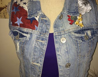 Up-Cycled Denim Vest, Americana & Floral Patches and Appliques, 100% Cotton Denim, Medium (6-8)