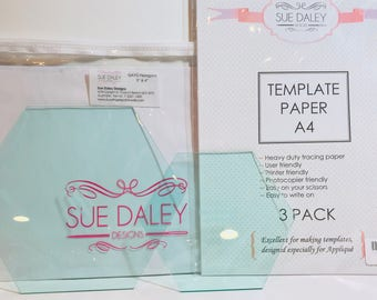 "3"" & 4"" Hexagon Papers Templates with Papers for English Paper Piecing by Sue Daley for Riley Blake Designs"