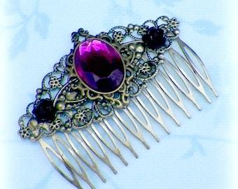 Hair Comb Pink Victorian Vintage Style Gothic Bridal Black Rose Gyspy Boho  Steampunk Wedding Gothic Bohemian