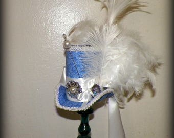 Fasinator Blue Mini Top Hat Tea Party White Steampunk Headdress Cosplay Costume