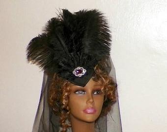 On Sale- Black Headdress Gothic Lolita Victorian Hat Feather White Fascinator Steampunk Costume Headpiece Old West  Marie Antoinette