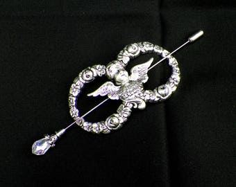 Shawl Pin Angel Brooch Silver Victprian Cherub Vintage Style Scarf Pin Hair Slide Edwardian Filigree Antique Inspired Stick Pin Outlander