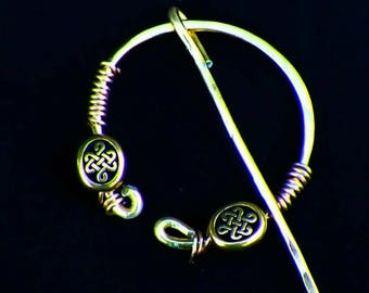 Shawl Pin celtic Mimimalistic Brooch Penannular Gold Vintage Hammered Minimalist  Cloak Style Scarf Pin Outlander Stick Pin
