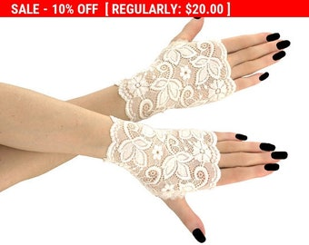 Women's ivory lace short fingerless mittens of lace fabric for wedding , womens  evening bridl lace gloves, black lace gloves, goth 03Q