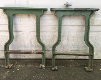 Set Of Two Antique Industrial Iron Machine Legs Table Base  Original  Beautiful Condition