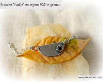"Bracelet ""leaf"" Silver 925 and Garnet stone"